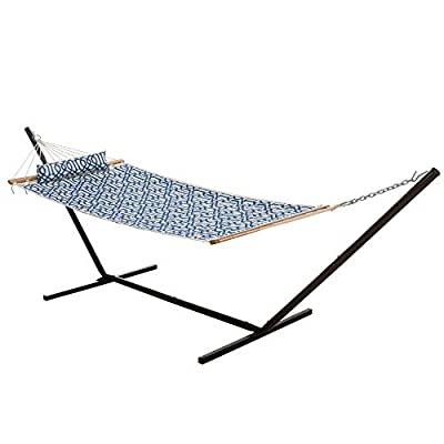 Castaway Hammocks Quilted Hammock Combo with Small Black Steel Portable Stand and Pillow, Navy