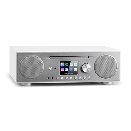 auna Connect CD Kompaktanlage - Internetradio, Digitalradio, WLAN, DAB+, UKW-Tuner mit RDS, Bluetooth, Spotify Connect, AUX, 10 Senderspeicherplätze, CD Player, USB, Farbdisplay, weiß