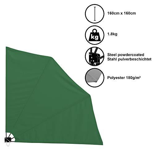 [casa.pro]®] Balkonfächer Wandklappschirm Wandschirm Seitenmarkise Balkonumspannung Klappbar Sichtschutz Balkon Sonnen Wind Schutz Grün / 160x160cm / 1,8kg / Stahl/Polyester 180g/m²