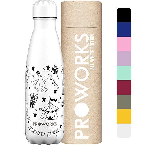 Proworks Bottiglia Acqua in Acciaio Inox, Senza BPA Vuoto Isolato Borraccia Termica in Metallo per Bevande Calde per 12 Ore & Fredde 24 Ore, Borraccia per Sport, Lavoro e Palestra - 750ml - Argento