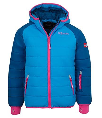 Trollkids Hafjell XT Kinder Wasserabweisende Skijacke Winterjacke, Mitternachtsblau/Magenta, Größe 92