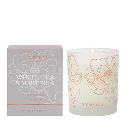 Stoneglow Day Flower White Tea & Wisteria Boxed Candle In Glass Tumbler