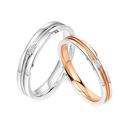 Daesar 18K White Gold Band Rings for Women and Men Promise Rings for Couples Gold Round with 0.03ct Diamond Rings Band Silver Rose Gold Rings Women Size R 1/2 & Men Size P 1/2