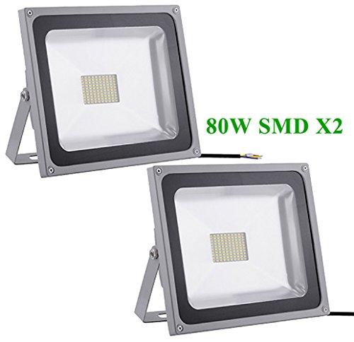Greenmigo 2pcs Interior y Exterior 80W SMD LED Focos Blanco Frio,con fijación colgar y Kit de tornillos,Waterproof IP65,AC 85~265V Luz de Seguridad