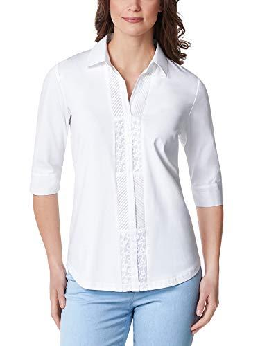 Walbusch Damen Jersey Bluse Exquisit einfarbig Weiß 38 - Kurzarm