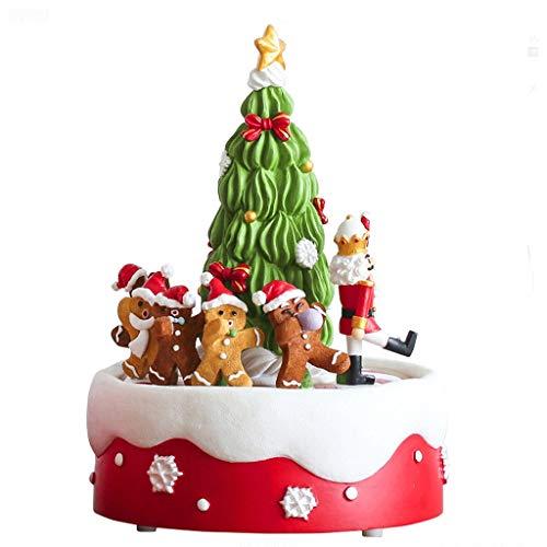 Cajas musicales Música de Navidad árbol de hombre de pan de caja de la caja de música regalo de cumpleaños de los niños giratoria de la caja de música de ventanas de escritorio Decoración de Navidad C