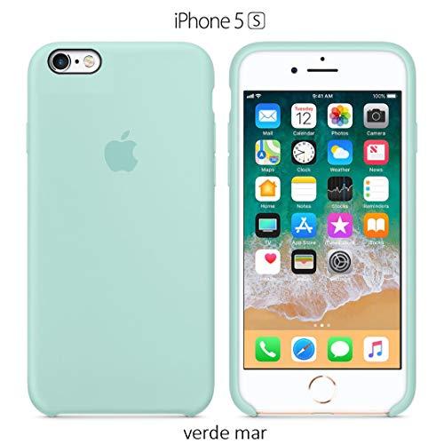 Funda Silicona para iPhone 5, 5s, SE Silicone Case, Logo Manzana, Textura Suave, Forro Microfibra (Verde mar)