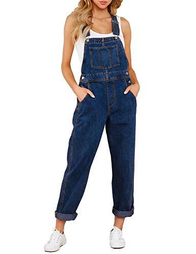 LookbookStore Women's Casual Stretch Denim Bib Overalls Pants Pocket Jeans Jumpsuits Dark Blue Size X-Large