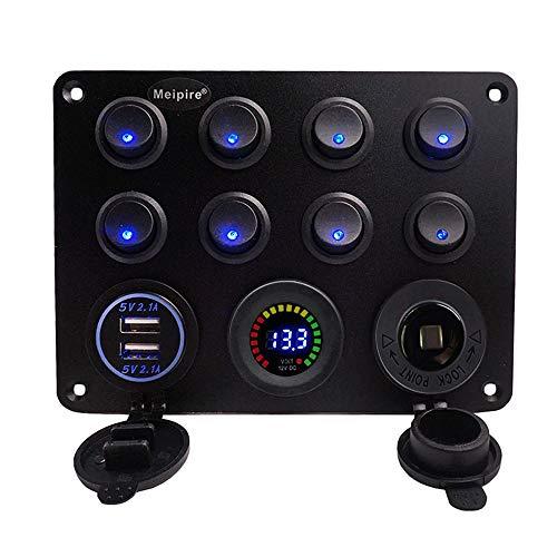 Meipire 12-24V DC Multifunktions Kippschalter 8 Tastenschalter Dual USB 4.2A Ladebuchse LED Voltmeter Steckdose für Wohnmobile ATV Yacht Fischerboot