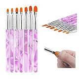 Ebanku 7 Pcs Pennelli per Unghie Spazzola di Arte del Chiodo, Nail Art Pen UV Gel per Nail Art Design Pennello Polacco Brush Pen Set