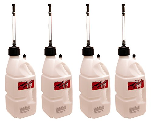 4 Pit Posse White 5 Gallon Utility Jugs W/Hoses Utility Can Racing MX Motocross Motorcycle Made in the USA