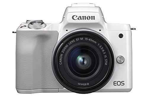 """Canon EOS M50 - Kit de cámara EVIL de 24.1 MP y vídeo 4K con objetivo EF-M 15-45mm IS MM (pantalla táctil de 3"""", estabilizador óptico, Wifi), color blanco"""
