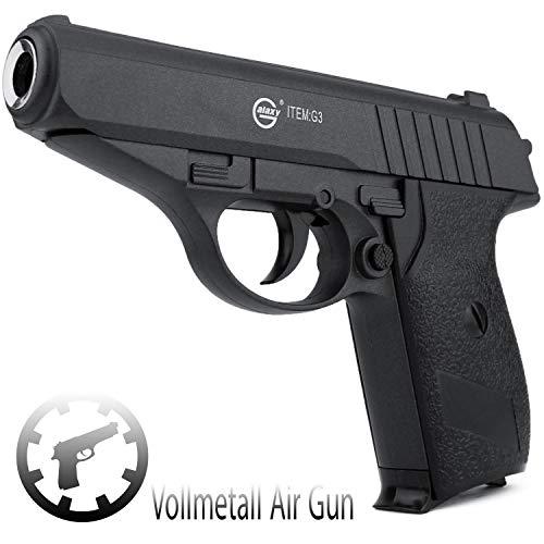 Softair Gun Airsoft Pistole + Munition | G3. Vollmetall | 15cm. Inkl. Magazin & 0,5 Joule