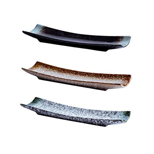 NICEXMAS 3 Piezas Plato de Sushi Cerámica Rectangular Bandeja de Almacenamiento de Estilo Japonés Vajilla de Cocina Plato de Servir Plato de Aperitivos para La Cocina Casera