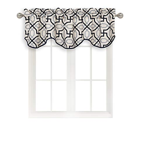 Home Queen Rod Pocket Print Curtain Valance Window Treatment for Living Room, Short Straight Drape Valance, Set of 1, 54 X 18 Inch, Black
