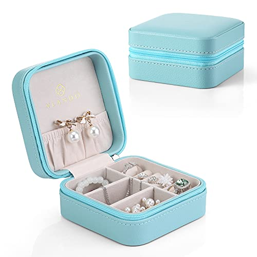 Vlando Small Travel Jewelry Box Organizer Display Storage Case for Rings Earrings Necklace (Blue)