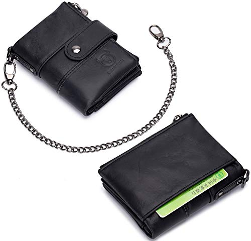 Leather Men Wallet with Anti-Theft Chain,Genuine Leather RFID Blocking Vintage Hasp Bifold Wallets Multifunctional Card Holder Minimalist Purse Zipper Coin Pocket with ID Window 3