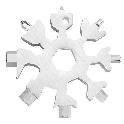 18-in-1 Schneeflocke Multi Tool Silber aus Edelstahl, Outdoor Werkzeug, tragbares Werkzeug, Multifunktionstool Männer Geschenk inkl. Ring