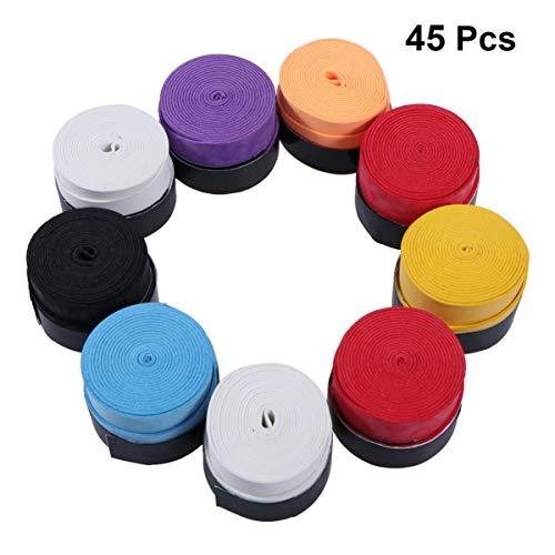 Garneck - Cinta antideslizante para raqueta de bádminton, 45 unidades, absorción de sudor, correa de envoltura para caña de pescar (color al azar)