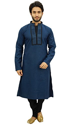 Atasi Herren Blau Designer Kurta-Pyjama-Set Lange Baumwoll Punjabi Hemd-Medium