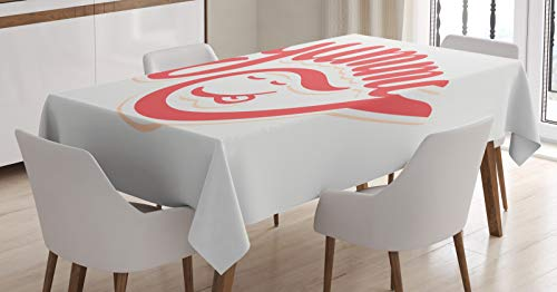ABAKUHAUS Lekker Tafelkleed, Simplistisch Monotone Wording, Eetkamer Keuken Rechthoekige tafelkleed, 140 x 170 cm, Champagne Coral