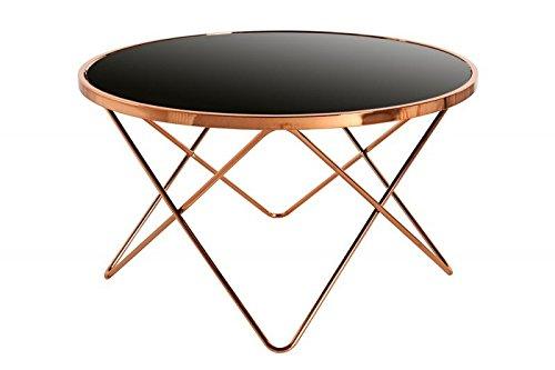 DuNord–Tavolino da Salotto Parigi 85cm Art Deco Design Vetro Nero/Rame Retro