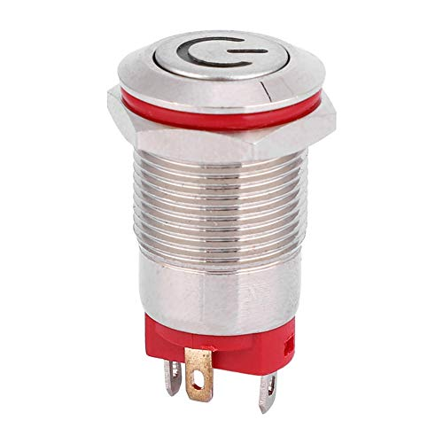 YUN 4 Pin Prueba de agua 12mm Metal Botón Interruptor en forma de poder LED Auto Lock Switch 3 ~ 9V (blanco)
