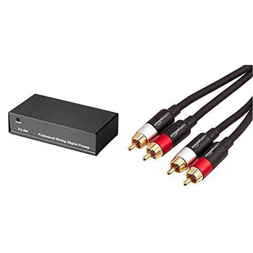 Hama Stereo Phono-Vorverstärker PA 506 (für Plattenspieler, inkl. Netzadapter 230V/50Hz, 3000mA, Cinchkabel 0,9 m) & AmazonBasics PBH-20217 - Cinch-Audiokabel, 2 x Cinch-Stecker auf 2 x Cinch-Stecker