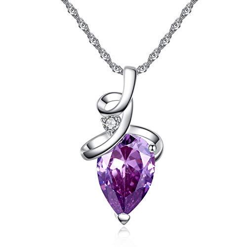 YQMR Colgante Collar para Mujer,Moda para Mujer Collar Mosaico Amatista Elegante Gotas De Agua Colgante Joyería para Mujeres Aniversario Cumpleaños Día De La Madre