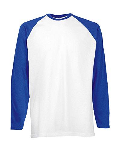 Fruit of the Loom Baseball Langarm ( Longsleeve ) T-Shirt S M L XL XXL weiss/royal,XL