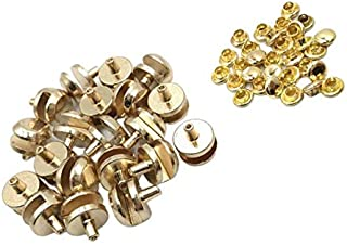 Prettyia 20 Sets Gold Tone Metal Boot Hooks Lace Fittings with Rivets for Camp Hike Climbing Repair Leather Boot Shoes Repair Buckle