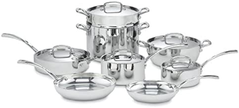 Cuisinart French Classic Tri-Ply Stainless 13-Piece Cookware Set, Silver