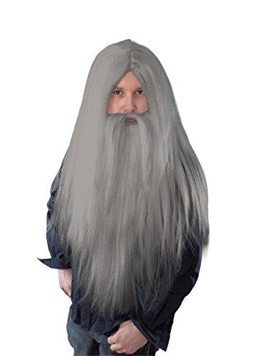 Bristol Novelty - BW909 - Perruque magique et longue barbe - Pour homme - Gris - Taille unique
