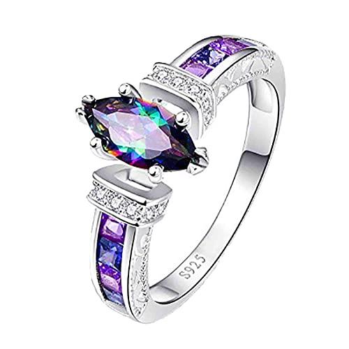 JXQ-N 925 Silver Rings for Women Fashion Gemstone Shape Jewelry Mystic...