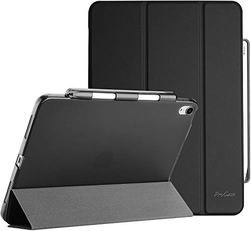 ProCase for New iPad Air 4 10.9 Inch 2020 (Latest Model), Flexible Soft TPU Back Smart Shell Stand Protective Case with Pencil Holder -Black