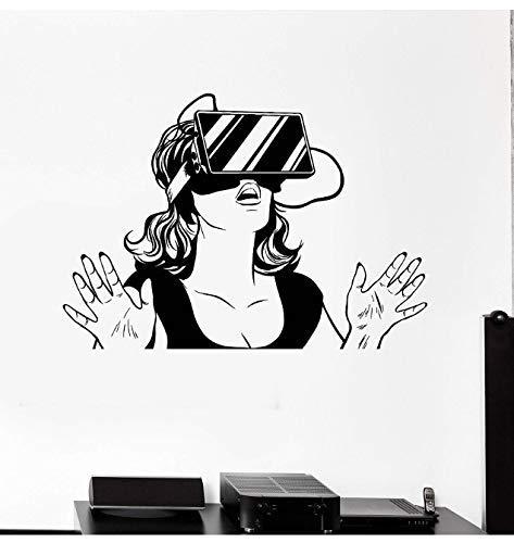 Vinyl muur Decals Virtual Reality Headset Vr Apparaat Vrouw Sticker Spel Liefhebbers Tiener Meisjes Slaapkamer Home Decor Muurstickers 60 * 42Cm