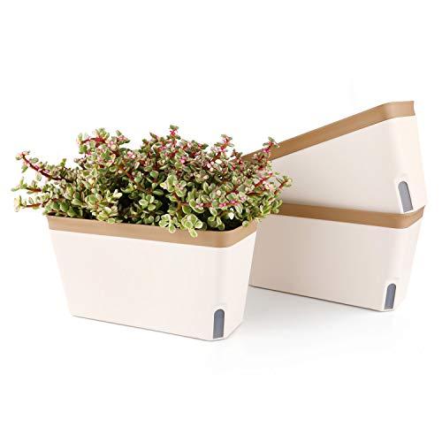 T4U 27cm Selbstwässernder Blumenkasten Kräutertopf mit ERD-Bewässerungs-System Braun 3er-Set Kunststoff Blumentopf Pflanzgefäß Rechteck für Küche Balkon Fensterbank