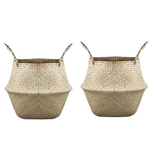 SevenMye 2 Pieces Wood Basket Rattan Folding Wicker Handle Basket Natural Sea Grass Storage Basket Flower Plant Pot