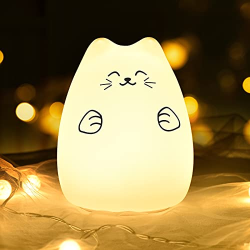 GoLine Kids Lamp, Cat Nursery Night Light, Nursery Decor, LED Night Light for Kids, Lamps for Bedroom Kids, 3/4/5/6/7/8 Year Old Girl Gifts/Toys.