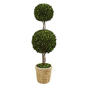 Nearly Natural 4ft. Preserved Boxwood Double Ball Topiary Planter Silk Trees, Green