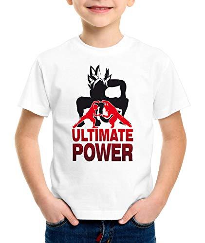 style3 Goku-Luffy Fusion Ultimate Power T-Shirt pour Enfants, Couleur:Blanc, Taille:164