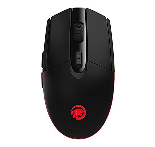 TENMOS T10 Optical Rechargeable Wireless Mouse 2.4GHz USB Led Computer Wireless Mouse with 3 Adjustable CPI 6 Buttons for Mac/PC/Laptop (Black)