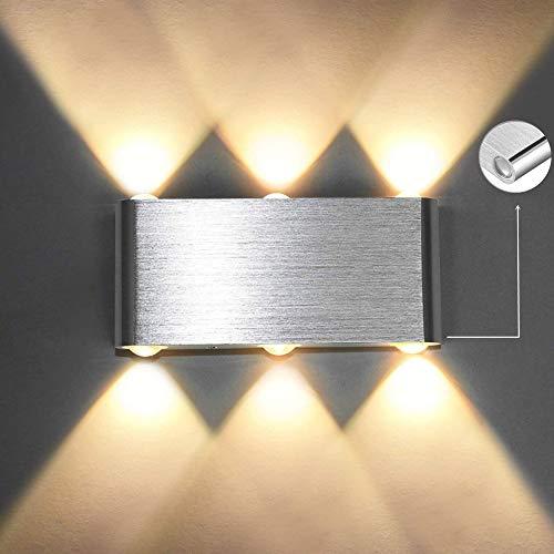 Louvra LED Wandleuchte Modern 6W, Wandlampe Innen, Wandbeleuchtung Up Down aus Aluminium für Wohnzimmer Schlafzimmer Treppenhaus Flur (Kaltweiß/Warmweiß)