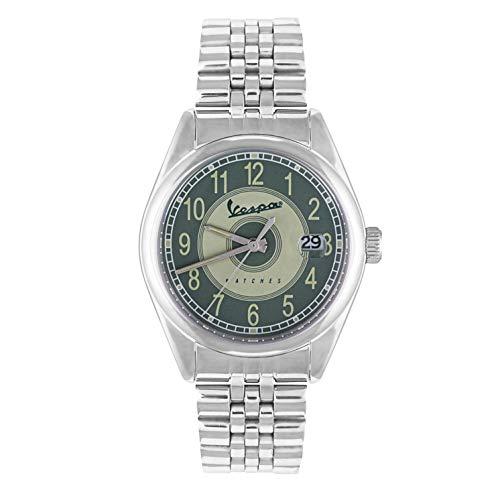 Vespa Uhren Analog Herren Armbanduhr mit grünen Quadrant Quarzwerk und 100% Made Silver Steel In Italien Modell VA-HE03-SS-05GR-GCM