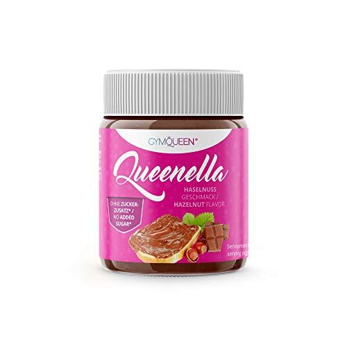 GymQueen Queenella 250g | Protein Creme mit hohem Eiweiß-Gehalt | Haselnusscreme ohne Zuckerzusatz | Brot-Aufstrich angereichert mit bestem Whey Protein | Hazelnut