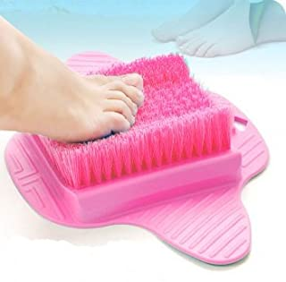 Healthstar Foot Massager Scrubber for Shower Floor – Exfoliating Bristles, Easy to Clean and Use, Hangable Scrub Pad (Pink)