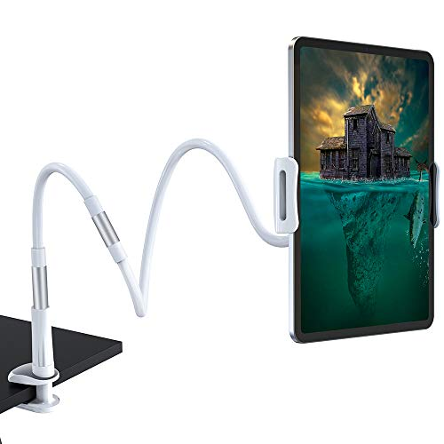 AHK Gooseneck Tablet Stand, Tablet Mount Holder for iPad iPhone Series/Nintendo Switch/Samsung Galaxy Tabs/Amazon Kindle Fire HD and More, 47 in Overall Length(White)