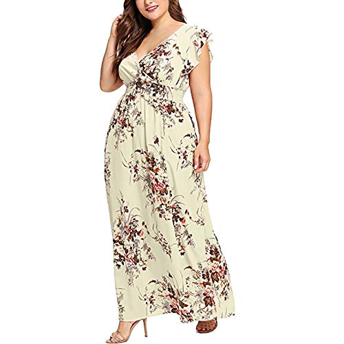 FQZWONG Women's Plus Size Wrap V-Neck Floral Print Short Sleeves Dress Fashion Casual Maxi Dress for Party Dating (A-Yellow,4X-Large)