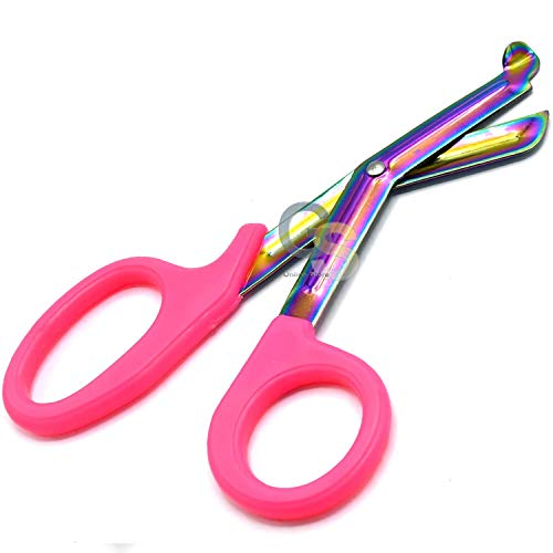 "G.S Pink Paramedic Utility Trauma EMT Bandage Shears Scissors 7.5"" with Mutli Rainbow Plasma Color Stainless Steel Blades Best Quality"