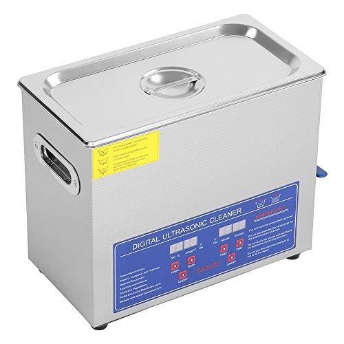Limpiador ultrasónico digital, 6 L, limpiador ultrasónico de acero inoxidable con temporizador digital, para limpieza de joyas, gafas, monedas, relojes, herramientas domésticas, etc.